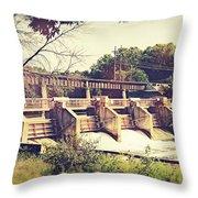 Vintage River Dam Throw Pillow