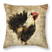 Vintage Rooster Throw Pillow