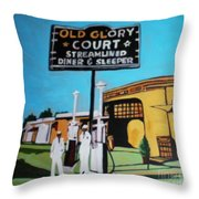 Vintage Route 66 Diner Sleeper Throw Pillow