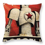 Vintage Russian Robot Poster Throw Pillow