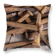 Vintage Rusty Square Nails Throw Pillow