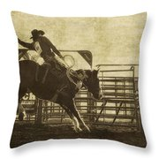 Vintage Saddle Bronc Riding Throw Pillow