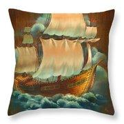 Vintage Sail On Wood Throw Pillow