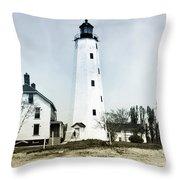 Vintage Sandy Hook Lighthouse Throw Pillow