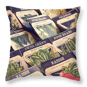 Vintage Seed Packages Throw Pillow by Edward Fielding