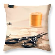 Vintage Sewing Machine Throw Pillow by Amanda Elwell