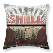 Vintage Shell Oil Rail Tanker Car Throw Pillow