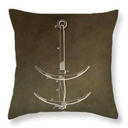 Vintage Ship's Anchor Patent Throw Pillow