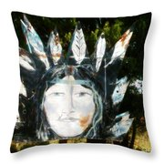 Vintage Sign Of Indian Girl Throw Pillow