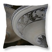 Vintage Silver And Glass Lighting Fixture Throw Pillow