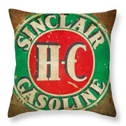 Vintage Sinclair Gasoline Sign Throw Pillow