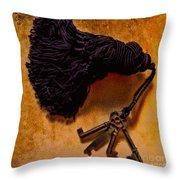 Vintage Skeleton Keys Tassled Gold Throw Pillow