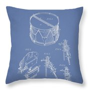Vintage Snare Drum Patent Drawing From 1889 - Light Blue Throw Pillow