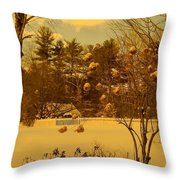 Vintage Snow Blossoms Throw Pillow