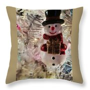 Vintage Snowman Throw Pillow