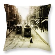 Vintage St Charles Street - New Orleans Throw Pillow