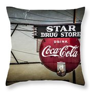 Vintage Star Drug Store Throw Pillow by Perry Webster
