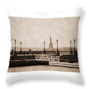 Vintage Statue Of Liberty View Throw Pillow