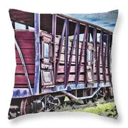 Vintage Steam Locomotive Carriages Throw Pillow