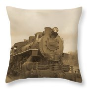 Vintage Steam Locomotive Throw Pillow