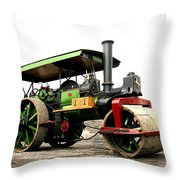 Vintage Steam Roller Throw Pillow