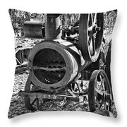 Vintage Steam Tractor Black And White Throw Pillow
