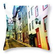 Vintage Style City Street Scene Photograph Throw Pillow