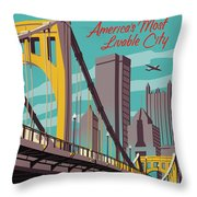 Pittsburgh Poster - Vintage Travel Bridges Throw Pillow