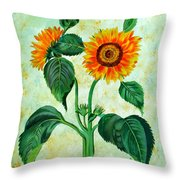 Vintage Sunflowers Throw Pillow