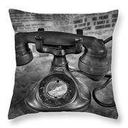 Vintage Telephone In Black And White  Throw Pillow