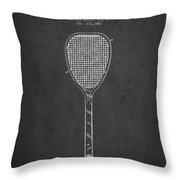 Vintage Tennnis Racket Patent Drawing From 1887-dark Throw Pillow