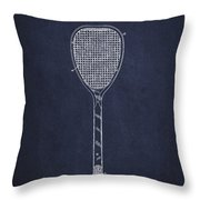 Vintage Tennnis Racket Patent Drawing From 1887-navy Blue Throw Pillow