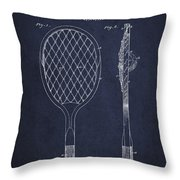 Vintage Tennnis Racket Patent Drawing From 1921 - Navy Blue Throw Pillow