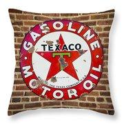 Vintage Texaco Gasoline Sign Dsc07195 Throw Pillow
