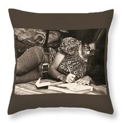 Vintage Young Woman Writing  Throw Pillow