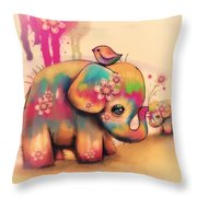Vintage Tie Dye Elephants Throw Pillow by Karin Taylor