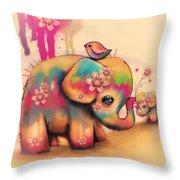 Vintage Tie Dye Elephants Throw Pillow