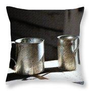 Vintage Tin Cups Throw Pillow