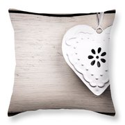 Vintage Tin Heart Throw Pillow by Jane Rix