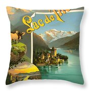 Vintage Tourism Poster 1890 Throw Pillow by Mountain Dreams