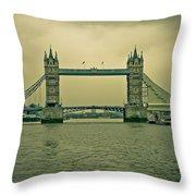 Vintage Tower Bridge Throw Pillow