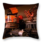 Vintage Toy Trains Throw Pillow
