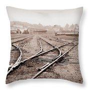 Vintage Tracks Throw Pillow