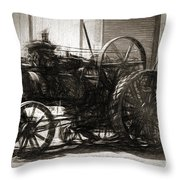 Vintage Tractor Drawing In Industrialised 1900s Throw Pillow