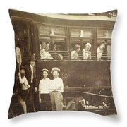 Vintage Train All Aboard Throw Pillow