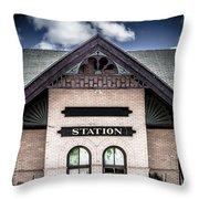 Vintage Train Station Throw Pillow