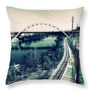 Vintage Train Tracks In Nashville Throw Pillow