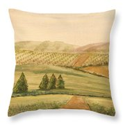 Vintage Tuscan Landscape-2 Throw Pillow