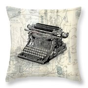Vintage Typewriter French Letters Square Format Throw Pillow