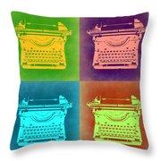 Vintage Typewriter Pop Art 1 Throw Pillow